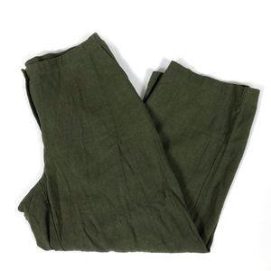 J. Jill cropped green textured linen pants
